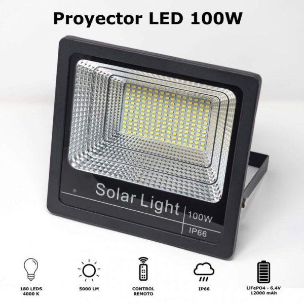 foco proyector solar LED 100w